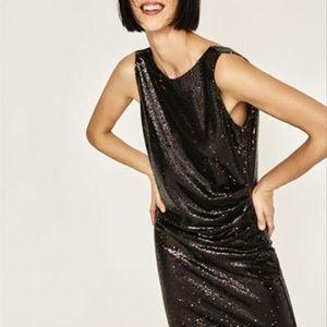 NWT ZARA BLACK GOLD SEQUIN EVENING DRESS M
